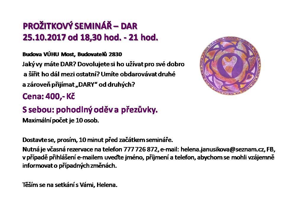 PROŽITKOVÝ SEMINÁŘ - DAR 1017