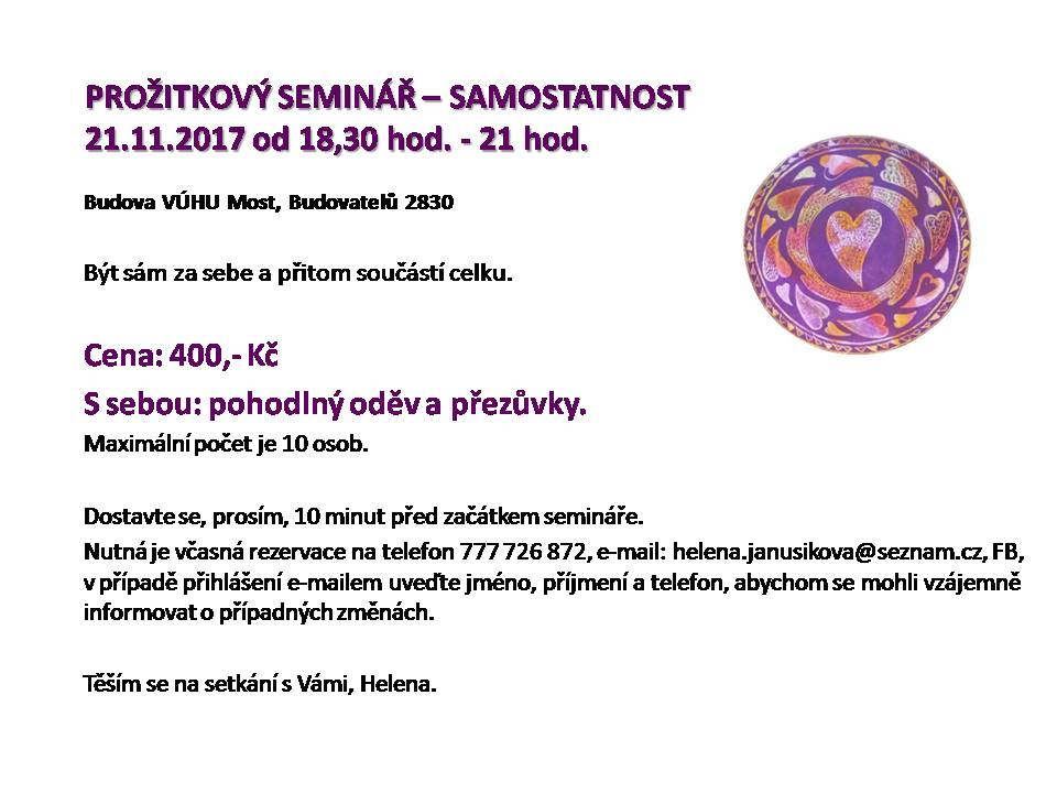 PROŽITKOVÝ SEMINÁŘ - SAMOSTATNOST 1117